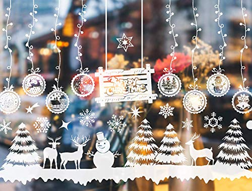 Steinppo 28PCS Christmas Window Large Clings Decorations - Winter Windows Vinyl Decals for Office Home Glass Door, Include Xmas Tree, Snowflake, Reindeer, Snowman