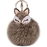 Automotive : Boseen Genuine Rabbit Fur Ball Pom Pom Keychain with A fashion Alloy Fox Head Studded with Synthetic Diamonds(Rhinestone) for Womens Bag Cellphone Car Charm Pendant Decoration(Light Brown)