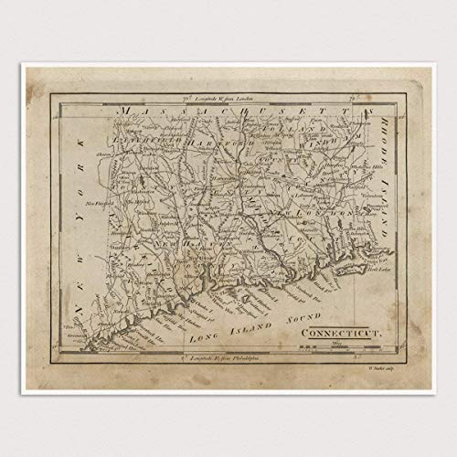 Connecticut Map - Old Connecticut Map Art Print, 1816, Archival Reproduction, Unframed