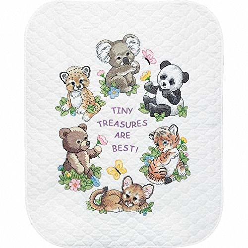 Dimensions Stamped Cross Stitch 'Tiny Treasures' DIY Baby Quilt Kit, 34