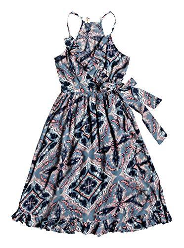 Roxy Womens Rooftop Sunrise - Strappy Midi Wrap Dress - Women - L - Blue Blue Mirage Love ()