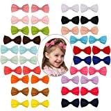 #4: PGXT 40pcs Baby Girls Grosgrain Ribbon Bowknot Small Hair Bows with Covered Clips Barrettes for Teens Kids Toddlers Children
