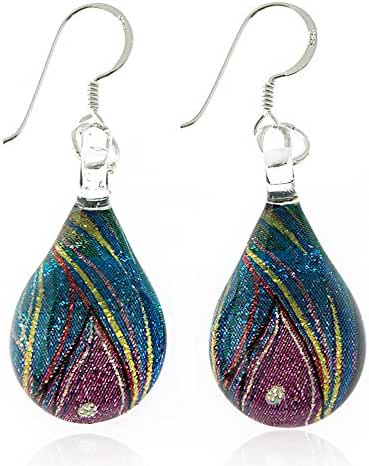 925 Sterling Silver Hand Painted Glass Multi-colored Blue Peacock Feather Teardrop Dangle Earrings