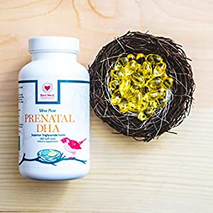 Best Nest Prenatal DHA (500 mg) | Pure Fish Oil Supplement, Easy to Swallow, Lemon Flavored, Triglyceride Form, High in Omega 3, 180 Softgels, 3 Month Supply