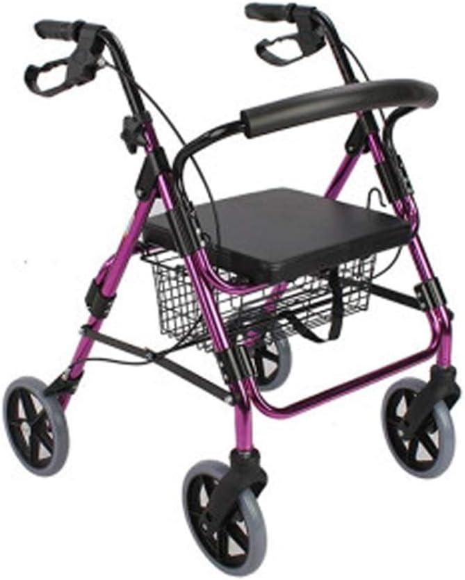 Antiguo Walker plegable Roller ajustable mango, viejo hombre de cuatro ruedas con asiento de cesta de carro de la compra de aleación de aluminio amplificador