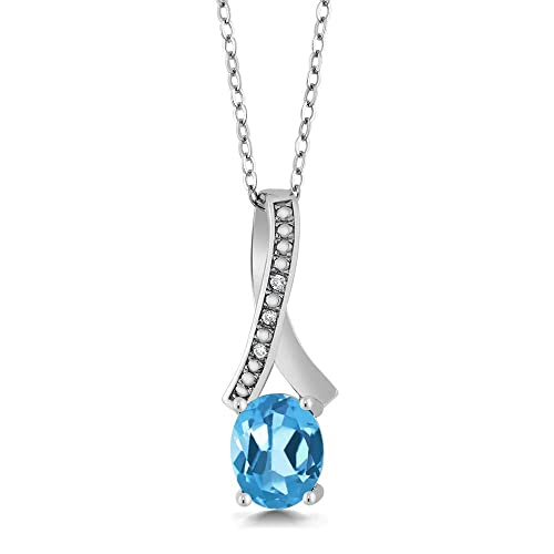 Gem Stone King Sterling Silver Oval Gemstone Birthstone White Diamond Pendant with 18 Inch Silver Chain