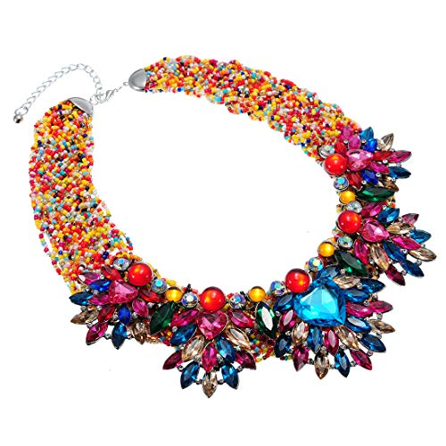 XBY-US Fashion Multicolor Statement Bib Chain Necklace,Handmade Braid Crystal Necklace Flower-Shaped Choker Collar for Women Costume Jewelry ()