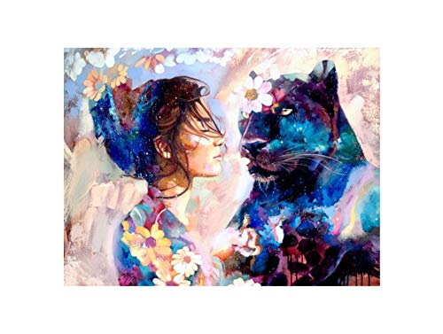 (Cross Stitch Leopard Lion Art DIY Diamond Embroidery Animal Wolf Tiger Woman Wall Deco,3,4030cm)