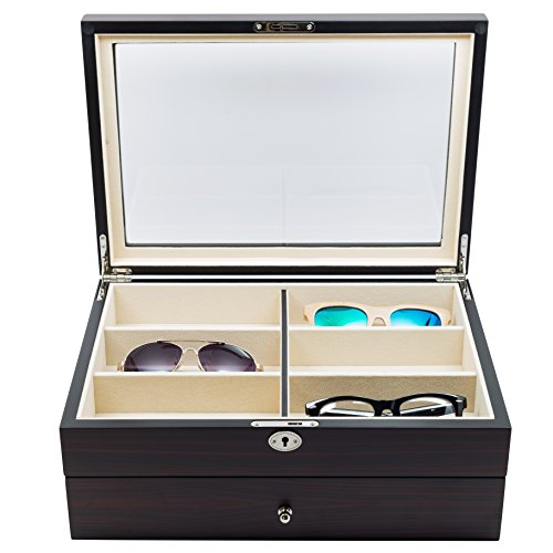 12 Piece Large Ebony Walnut Wood Eyeglass Sunglass Two Level Glasses Display Case with Drawer Storage Box ()