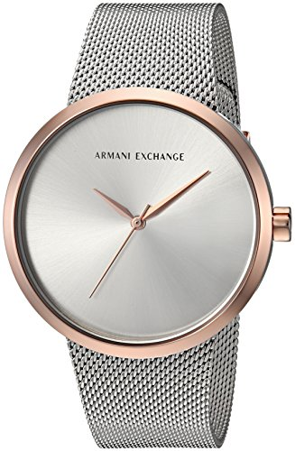 Armani Exchange Women's AX4509 Two Tone Rose Gold and Silver Mesh Watch