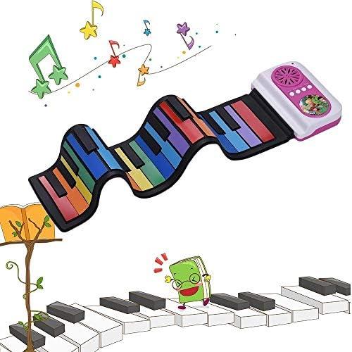 ミュージカルおもちゃ 内蔵スピーカー教育音楽のおもちゃ子供のための37キーポータブルロールアップピアノシリコン電子キーボードカラフルなキー 脳を発達させるための教育玩具 (色 : Multi-colored, Size : Ones)