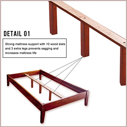 Merax Wood Platform Bed Frame Mattress Foundation with Wooden Slat Supports (Queen, Cherry)