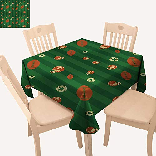 - haommhome Football Picnic Cloth Old Fashioned Composition with Green Stripes Rugby Icons Graphic BBQ Tablecloth W 70