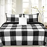 Sweet Home Collection 4 Piece Buffalo Check Plaid Design Reversible to Solid Color with 2 Shams & Throw Pillow, Full/Queen, Black/White