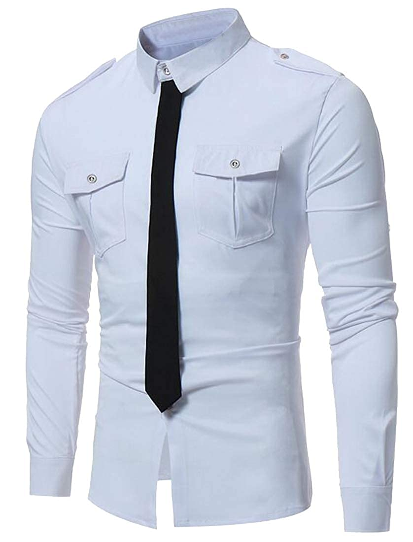 DFBB Mens Button Down Contrast Casual Slim Long Sleeve Pockets Dress Work Shirt
