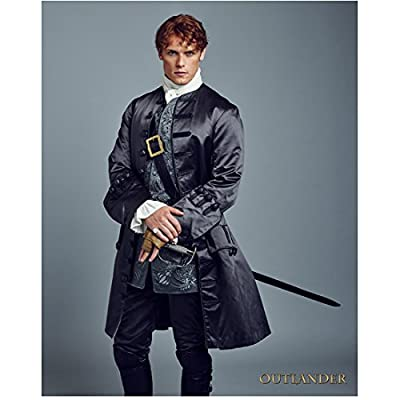 Sam Heughan 8 Inch x10 Inch Photograph Outlander A Princess for Christmas First Light Wearing Blue Satin w/Blue Background Pose 1 kn