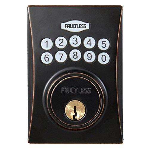Faultless GACX7D01AAP Hourglass Electronic Keypad Deadbolt, Aged Bronze Faultless