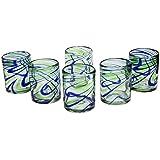 NOVICA Blue and Green Swirl Hand Blown Glasses, 13 oz, Elegant Energy' (set of 6)