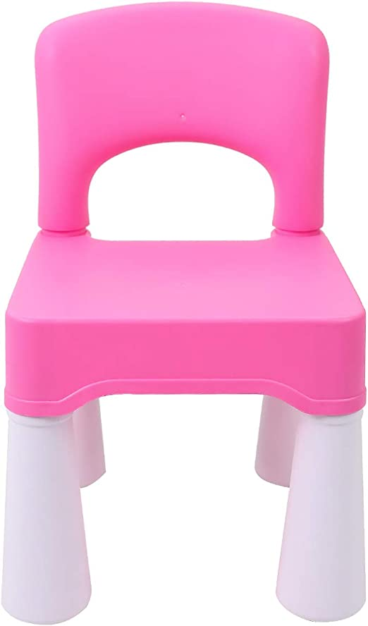 Maximum Weight 100kg//220lb Childrens Assembleable Seat Furniture burgkidz Kids Plastic Chair with Curved Backrest for Home /& Garden Pink