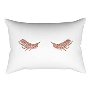 FimKaul Leopard Print Throw Pillow Cover Pink Geometric Modern Rose Gold World Map Pillow Case Home Decor Eyelash Pillowcase(B,12 x 20 Inch)