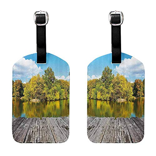 (Bag Business Card ID Tags Landscape,New York City Central Park in a Autumn Day Near a Bay with River,Sky Blue Green and Cocoa for cruise ships)