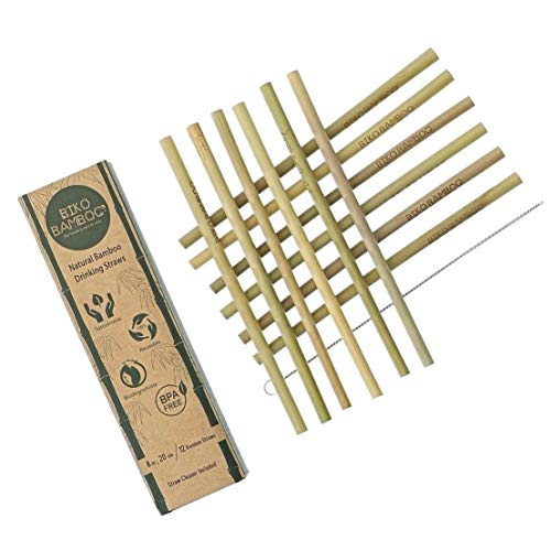Natural Bamboo Drinking Straws 12 pcs | 8-inch Eco-friendly Sustainable Reusable Washable Straws | Biodegradable Alternative to Plastics, Stainless Steel & Glass | Straw Cleaner Included | BIKO BAMBOO by BIKO Bamboo