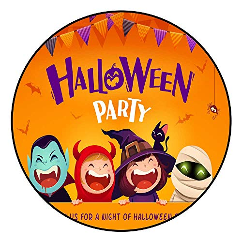 (Hua Wu Chou Round matround Bath mat D2'6/0.8m Halloween Party Group of Kids in Halloween Costume with Big Signboard)