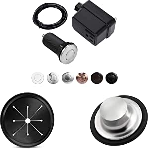 Garbage Disposal Air Switch Kit,Long Brushed Button,Splash Guard Collar Sink Baffle,Kitchen Sink Stainer Group,3 3/8 inch