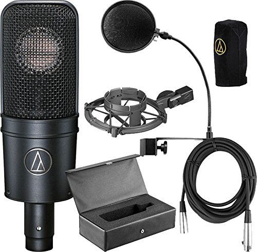 Audio-Technica AT4040 Cardioid Condenser Microphone Bundle with Pop Filter, XLR Cable, and Austin Bazaar Polishing Cloth by Audio Technica