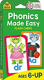 School Zone - Phonics Made Easy Flash Cards - Ages 6 and Up, Preschool to 2nd Grade, Short Vowels, Long Vowels
