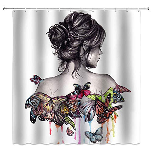 Tattoo Shower Curtains - AMNYSF 	Fashion Butterfly Girl Shower Curtain Oriental Woman Watercolor Butterflies Back Portrait Decor Fabric Bathroom Curtains,70x70 Inches Waterproof Polyester with Hooks
