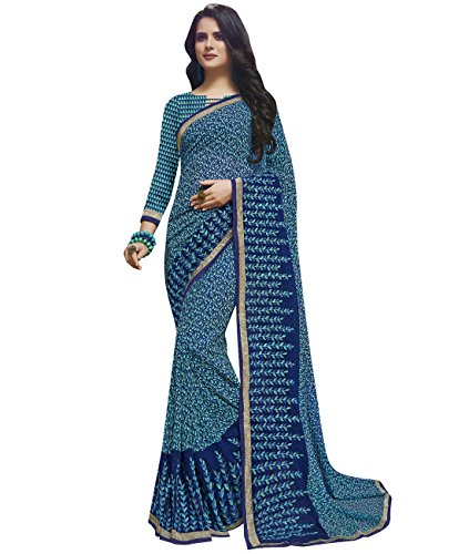 Faux Georgette (Indian Ethnic Faux Georgette Blue Printed Saree)