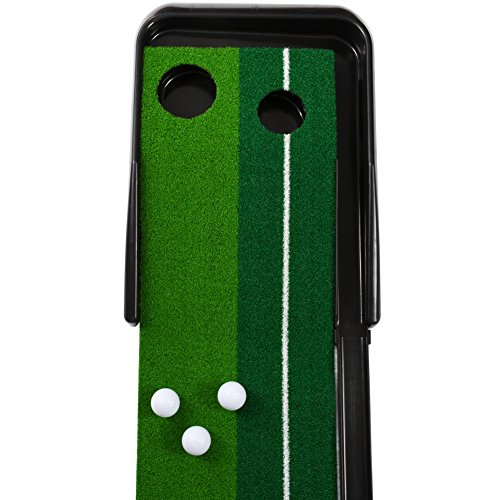 Balight Putting Green Indoor Outdoor Golf Auto Return with 3 Ball and 1 Putter Putting Trainer Mat Dual-Track ProEdge - Extra Long 10.5 Feet Mat - 2 Holes by Balight (Image #5)