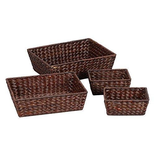 51liHpNnOHL - Household Essentials Wicker Storage Baskets Set of 4