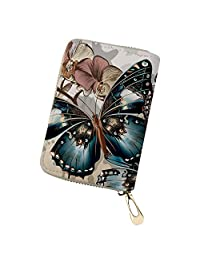 Showudesigns PU Leather Card Case Wallet Zipper Slim Women Credit Card Holder