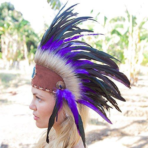Indian War Bonnet Costume (Novum Crafts Feather Headdress | Native American Indian Inspired | Purple)