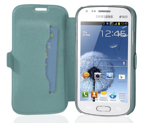 Cadorabo - Ultra Slim Book Style Cover works with Samsung Galaxy S DUOS (GT-S7562) with Card Slot and Stand Function - Etui Case Protection Skin in SKY-BLUE