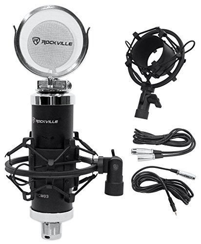 Rockville RCM03 Pro Studio Recording Condenser Microphone Mic+Metal Shock Mount by Rockville