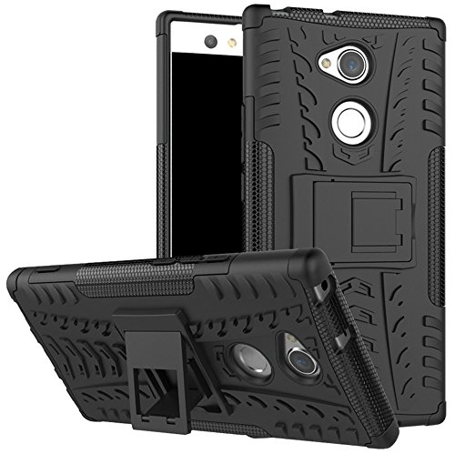 Sony Xperia XA2 Ultra case,Yiakeng Dual Layer Shockproof Wallet Slim Protective with Kickstand Phone Case Cover for Samsung Xperia XA2 Ultra Dual,Sony H4213/H4233 6 (Black)