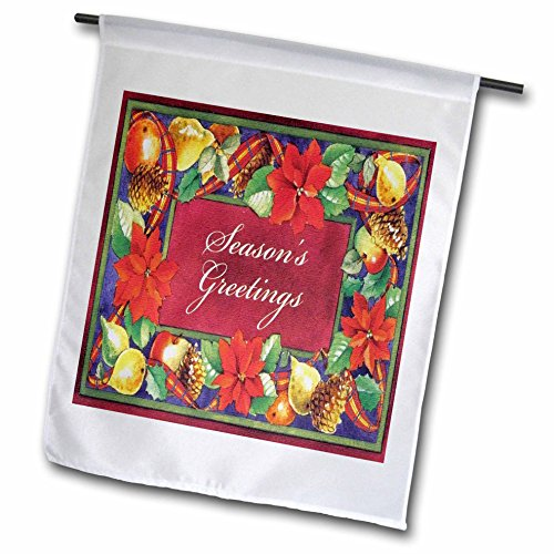 3dRose fl_172811_1 Seasons Greeting with Holly Pine Cones Fruit Colorful Border Garden Flag, 12 by 18-Inch (Apples Photo Border)