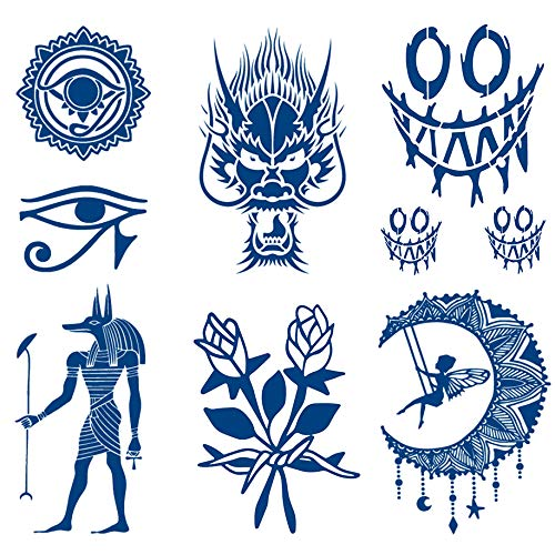 Oottati 6 Sheets Semi Permanent Tattoos Stickers Long Lasts 1-2 Weeks Temporary Tattoo Dragon Egypt Horus Eye of Horus Anubis Moon Totem Devil Smile Flower, Realistic Appearance and Natural Fading