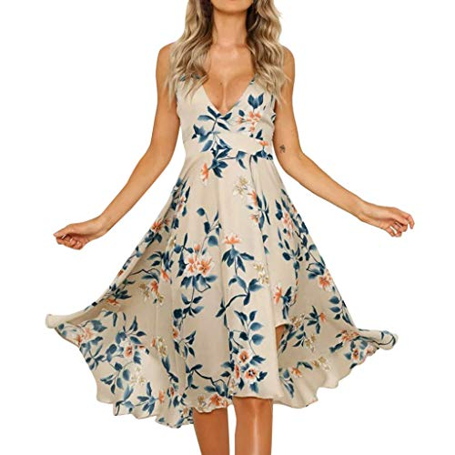 Zlolia Women's Floral Print Slings Swing Dresses Deep V Ruffled Backless Strap Irregular Hem Skirt Summer Sexy Dress