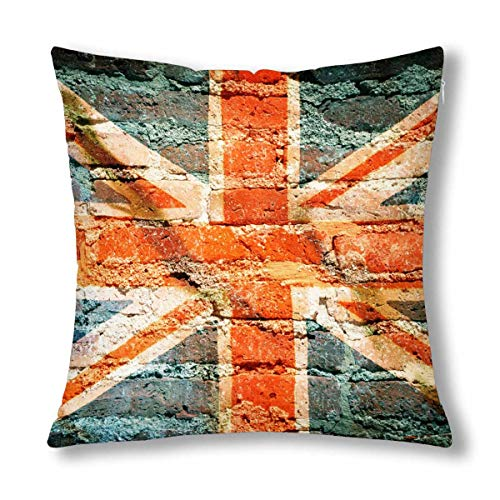 INTERESTPRINT Vintage United Kingdom Flag on Brick Cushion Case Protector Pillowcase with Zipper 18x18 Inch, Throw Pillow Cover Home ()