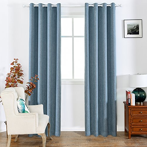 Melodieux Elegant Cotton Blackout Thermal Insulated Grommet Top Curtains/Drapes for Bedroom, 52 by 84 Inch, Navy