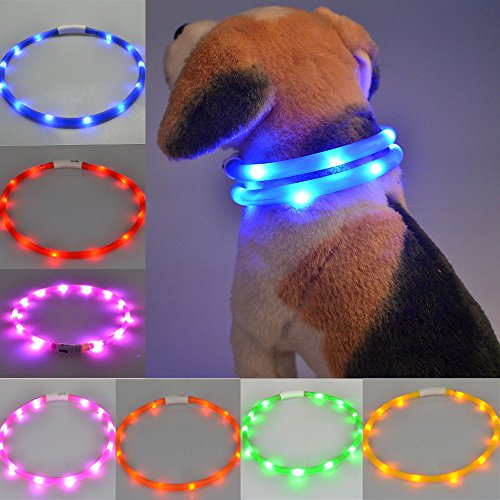 Glumes LED Pet Collar, LED Nylon Adjustable Dog Collar USB Rechargeable Waterproof with 3 Light Gem Luminous Effect and Strong Buckle Keep Pet Safe and Visible for Dogs& Cats]()