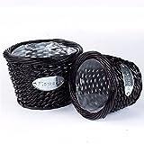 EXDJ Rattan Wicker Straw flowerpot pure handmade gardening flower basket,Black,19x15cm