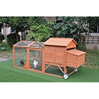 Large Rabbit Hutch with Wheels Chicken Coop Guinea Pig Cage Nest House Run
