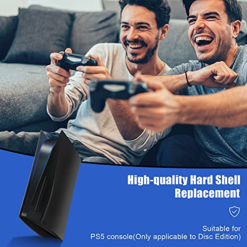 SOOKOM PS5 Plates for Console, Hard Replacement Panels Plate Shell for Playstation 5 Console Blu-Ray Edition, ABS Anti-Scratch Dust-Proof Protective Cover Faceplate Case Accessories for PS5 (Black)