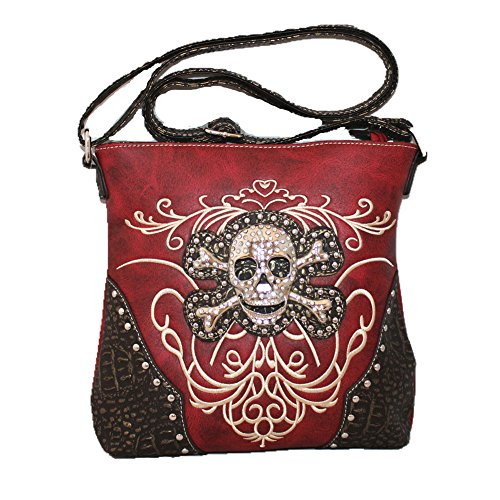 Red Skull Messenger Bag (Western Concealed Carry Rhinestone Skull Embroidered Leather Women's Messenger Bag in 5 Colors with Fast Shipping (Red))