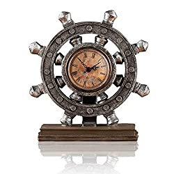 Lependor Wheel Wall Clock Decoration Nautical Anchor Boat Steering Wheel Time Clock Table Decor Crafts Rudder Desk Clock - Brown